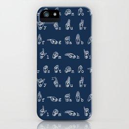 ASL Alphabet // Navy iPhone Case