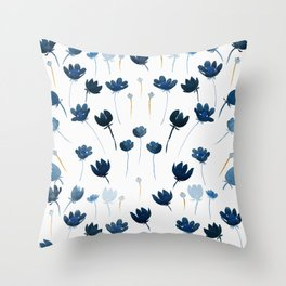 Dreamy Blue Flowers Throw Pillow