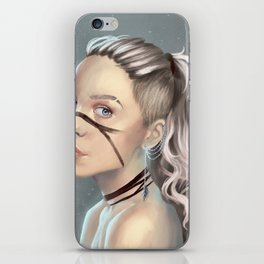 Woman with face paint iPhone Skin