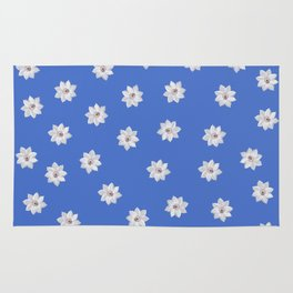 Blue and White Flowers Rug