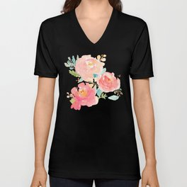 Watercolor Peonies Summer Bouquet Unisex V-Neck