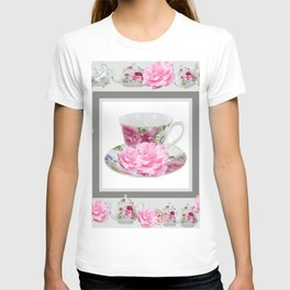 ABSTRACTEd PINK ROSE TEA TIME PORCELAIN ART T-shirt