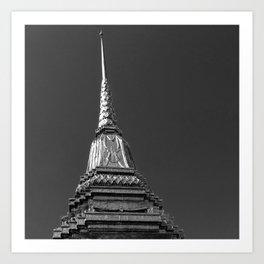 Thai top pagoda ,Balck & white. Art Print