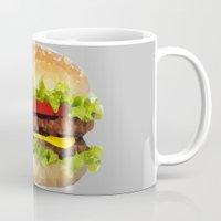 hamburger Mugs featuring Triangular HAMBURGER by JOlorful
