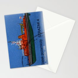old postage stamp. Boat in the blue sea Stationery Cards