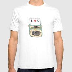 I love typewriters White MEDIUM Mens Fitted Tee