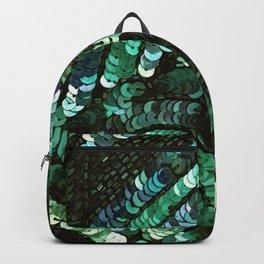 Forest Green Teal Sequin Design Backpack