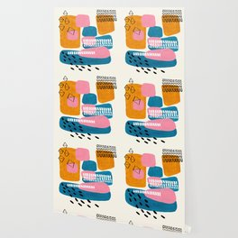 Mid Century Modern abstract Minimalist Fun Colorful Shapes Patterns Pink Teal Yellow Ochre Bubbles Wallpaper
