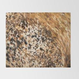Rustic Country Western Texas Longhorn Cowhide Rodeo Animal Print Throw Blanket