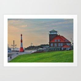 An evening in Bremerhaven Art Print