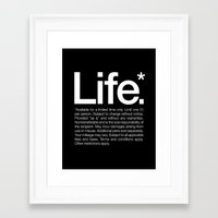 type Framed Art Prints featuring Life.* Available for a limited time only. by WORDS BRAND™