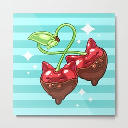 Choco Cherry Kits Metal Print