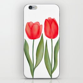 Red Spring Tulips Watercolor Flowers iPhone Skin