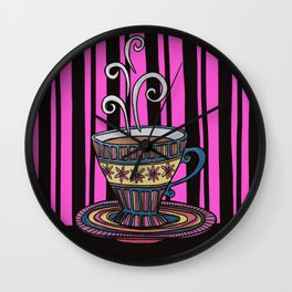 Glitter Tea Cup on pink and black stripes Wall Clock