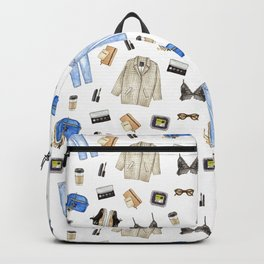 watercolor sketch. woman fashion outfit Backpack