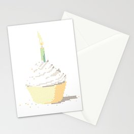 Happy Birthday Cupcake in a Real Cross Stitch Pattern - Color Coded Chart - Wearable Fiber Art Patte Stationery Cards