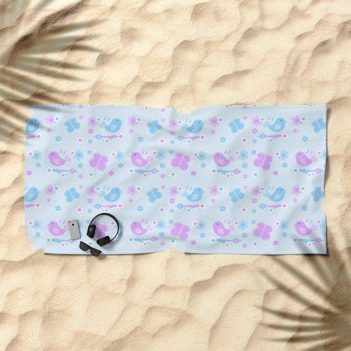 Chickadee Bird Butterfly Floral Purple Lavender Blue Beach Towel