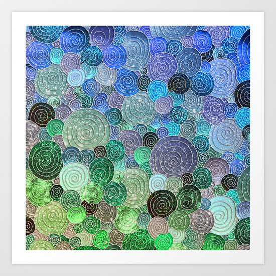 Abstract blue& green glamour glitter circles and polka dots for ladies Art Print