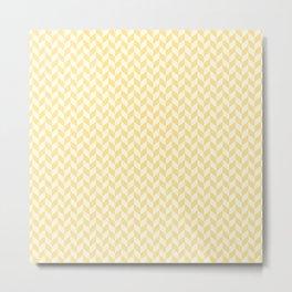 Yellow & Cream Summer Chevron Pattern with Half Arrows Metal Print