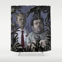 shaun of the dead Shower Curtains featuring Shaun of the Dead Caricature by Richtoon