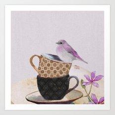 Bird in tea cup Art Print