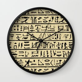 Egyptian Hieroglyphics // Tan Wall Clock