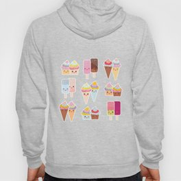 Kawaii cupcakes, ice cream in waffle cones, ice lolly Hoody