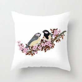 Chickadee Couple on Cherry Branch Throw Pillow