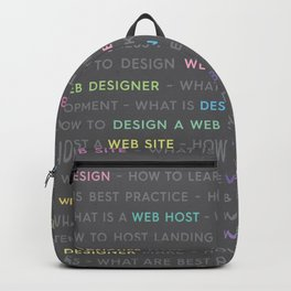Colored Web Design Keywords Backpack