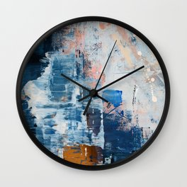 Shapes in the Clouds: a vibrant mixed-media piece in blues and pinks by Alyssa Hamilton Art Wall Clock