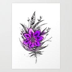 Purple Flower Feather Art Print