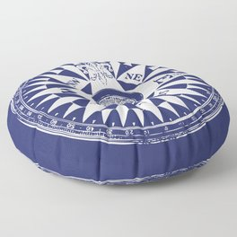 Nautical Compass   Navy Blue and White Floor Pillow