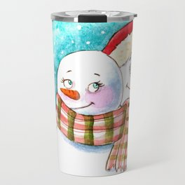 Snowmen in love Travel Mug
