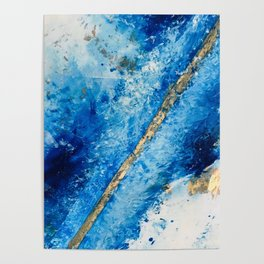 Blue Skies [2]: a pretty, abstract mixed-media piece in blue, gold and white Poster