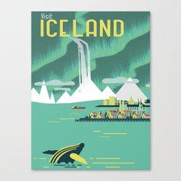 Vintage Mid Century Modern Iceland Scandinavian Travel Poster Ocean Whale Winter Village Canvas Print
