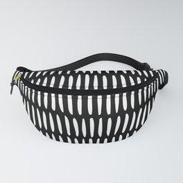 Classy Handpainted Stripes Pattern Black, Scandinavian Design Fanny Pack