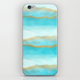 Gold and blue sea iPhone Skin