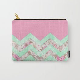 Girly Mint Green Pink Floral Block Chevron Pattern Carry-All Pouch