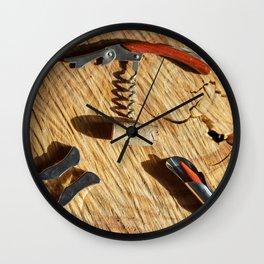 corkscrew with wine corks Wall Clock