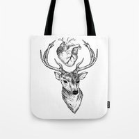 cargline Tote Bags featuring Hipster Deer by cargline