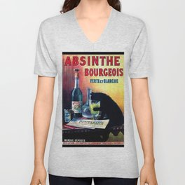 Marque Deposee Bad Cat Drinking Absinthe Bourgeois Lithograph Wall Art Unisex V-Neck