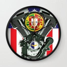 Luso-American Motorcycle Patriot. Wall Clock