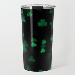 Green Bokeh Shamrocks Travel Mug