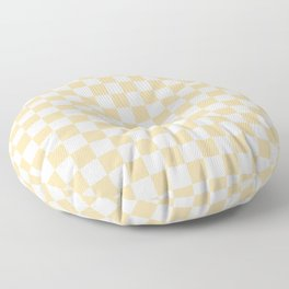 Small Checkered - White and Sunset Orange Floor Pillow