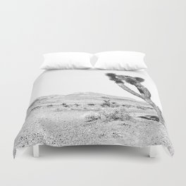 Vintage Desert Scape B&W // Cactus Nature Summer Sun Landscape Black and White Photography Duvet Cover