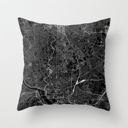 Washington D.C. Black Map Throw Pillow