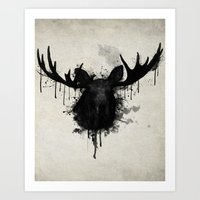 moose Art Prints featuring Moose by Nicklas Gustafsson