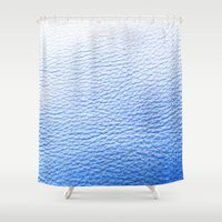 leather Shower Curtains featuring Blue Leather by The Wellington Boot