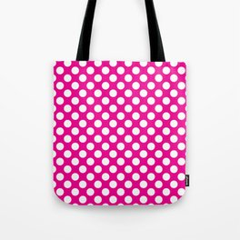 White Polka Dots with Pink Background Tote Bag