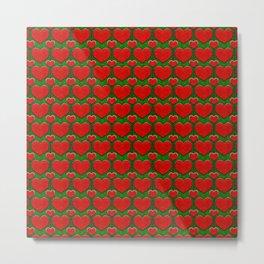 Grunge Hearts Pattern Metal Print